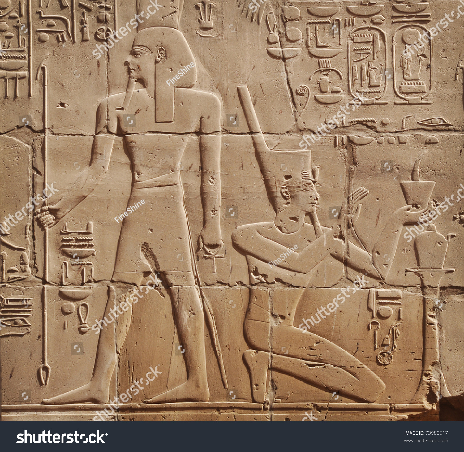 Egyptian Images Hieroglyphs Engraved On Stone Stock Photo