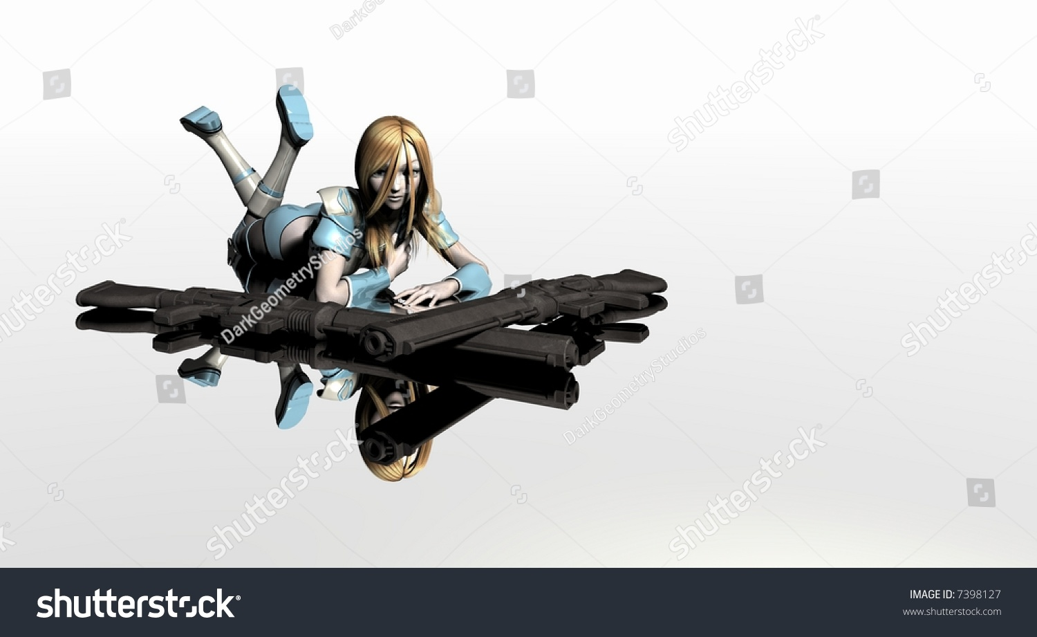 anime girl guns lying down stock illustration 7398127 - shutterstock