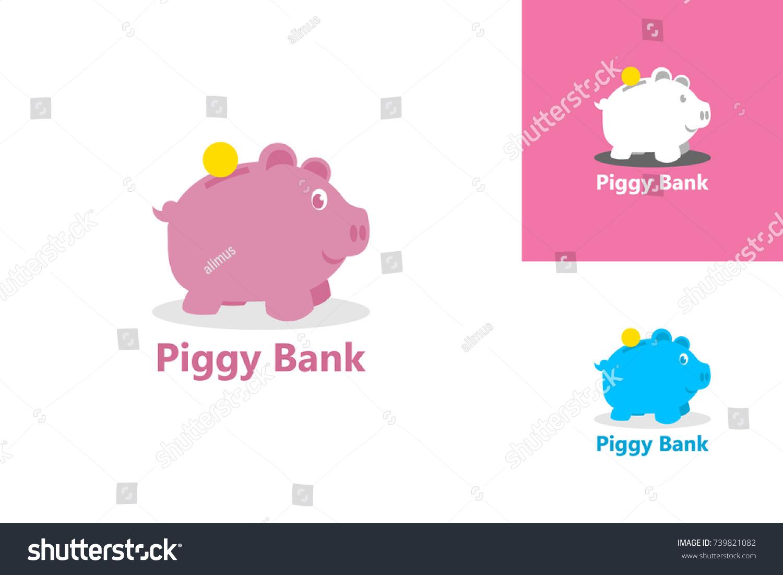 piggy bank logo template design stock vector royalty free