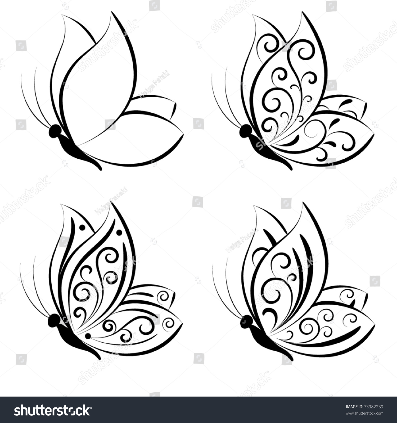 Line Drawing Butterfly Tattoo : Butterfly vector set stock shutterstock