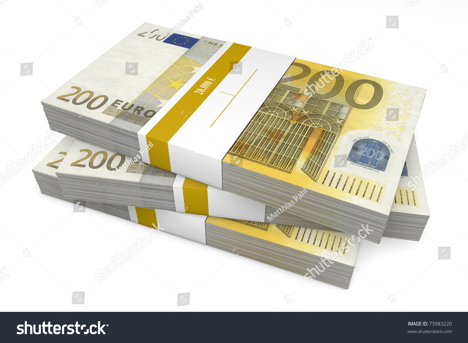 three packet 200 euro notes bank stock illustration. Black Bedroom Furniture Sets. Home Design Ideas