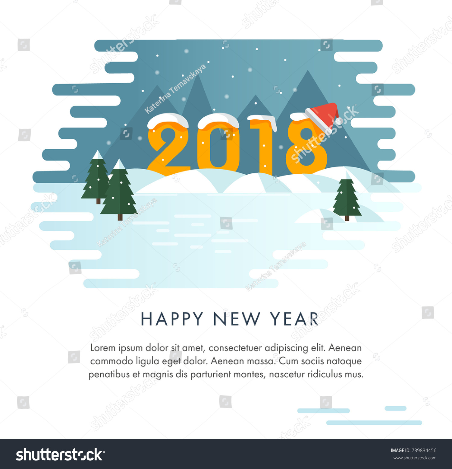 Happy new year card flat style stock vector 739834456 shutterstock flat style landscape with snow covered figures of 2018 madrichimfo Images