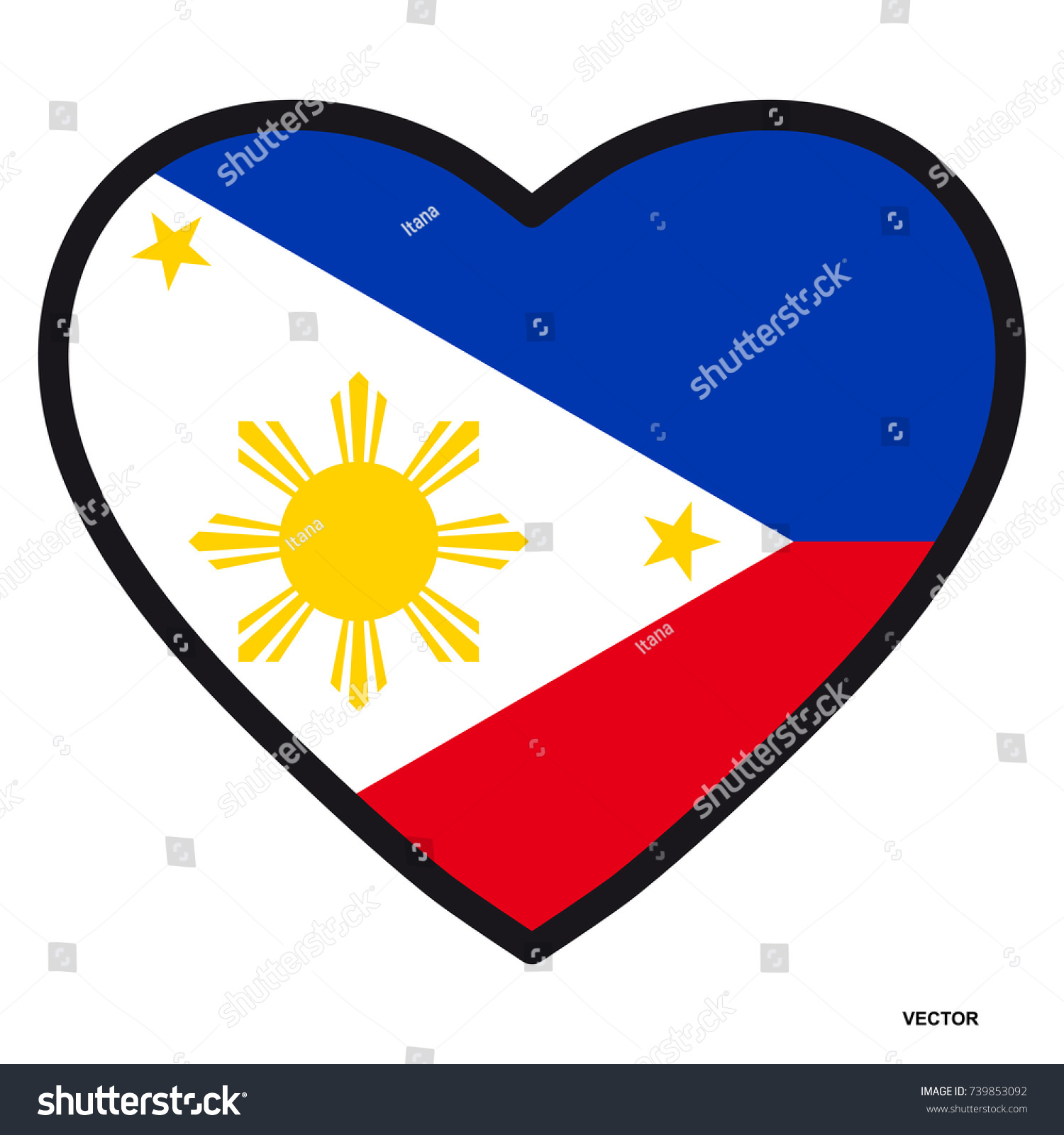 Flag philippines shape heart contrasting contour stock vector flag of philippines in the shape of heart with contrasting contour symbol of love for buycottarizona Images
