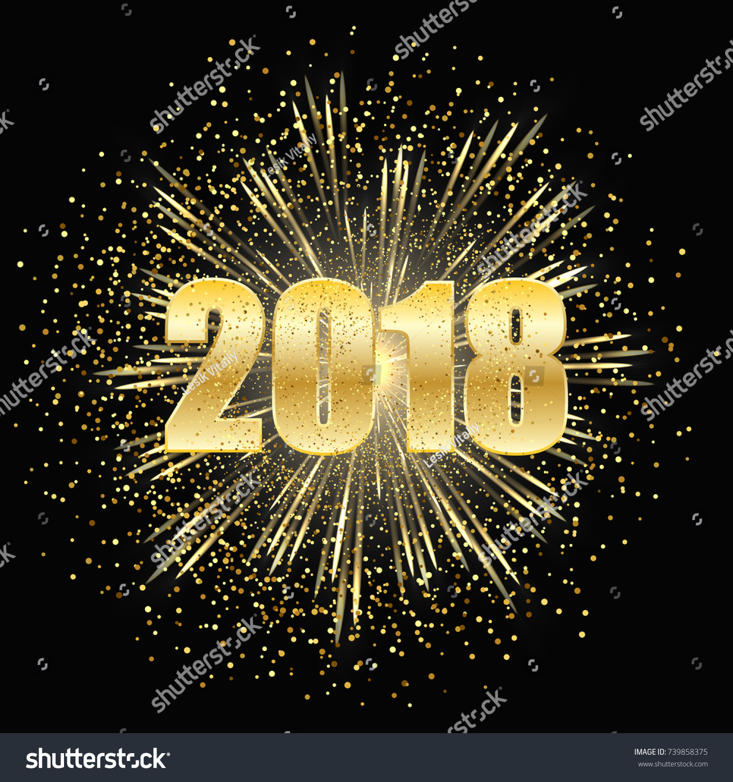 christmas and new year dark background fireworks with gold particles and figures 2018