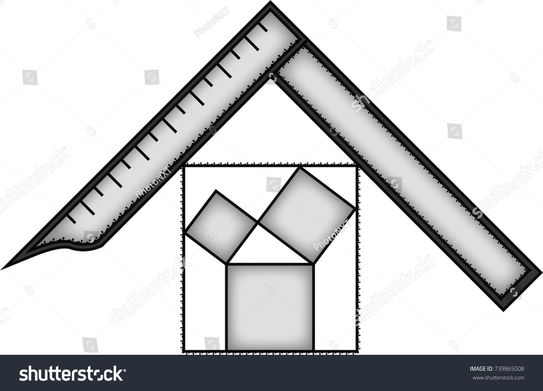 Square Pitagora Symbol Masonic Symbol Past Stock Vector Royalty
