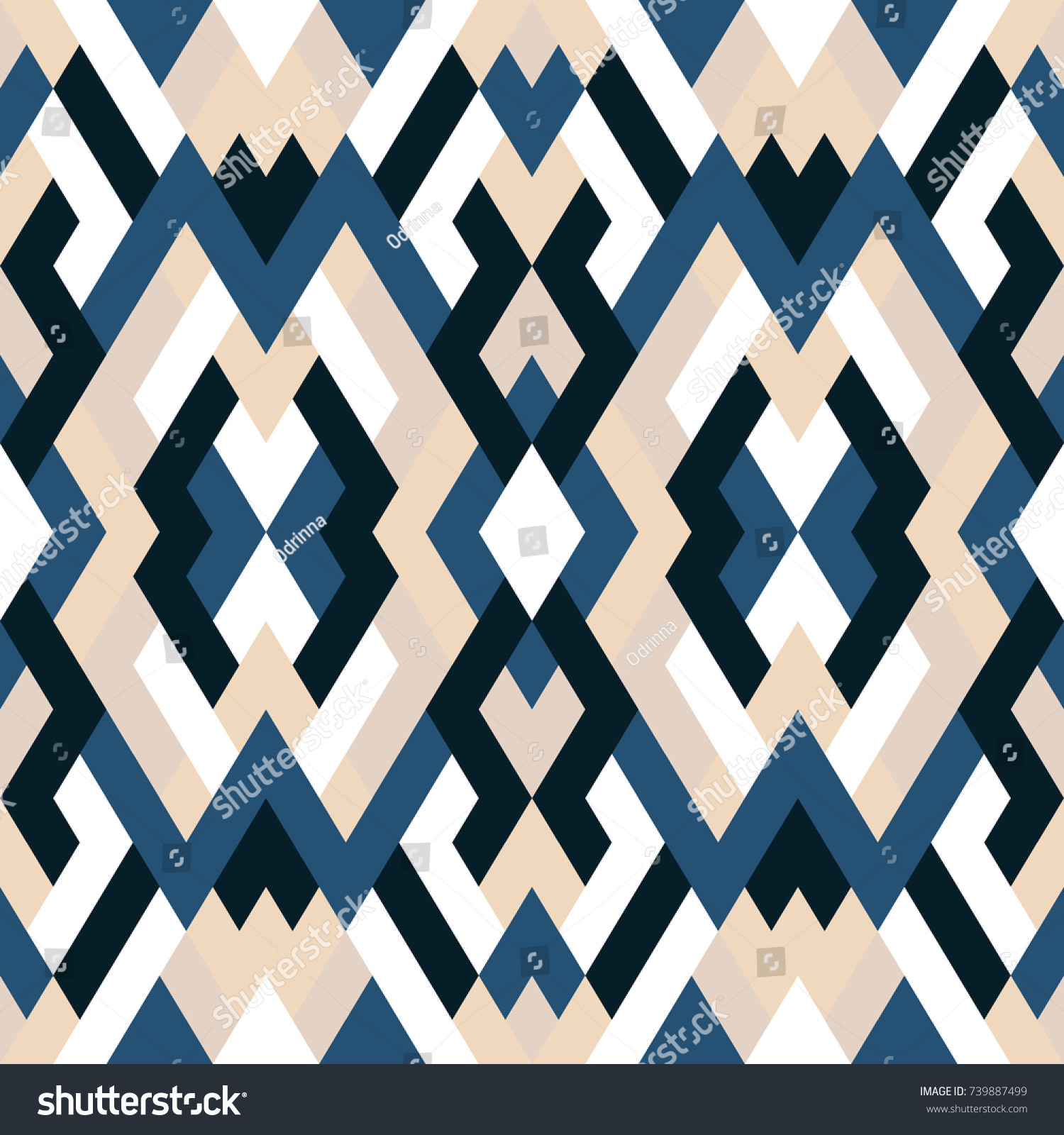 Mosaic Seamless Texture Vector Geometric Background Stock Vector