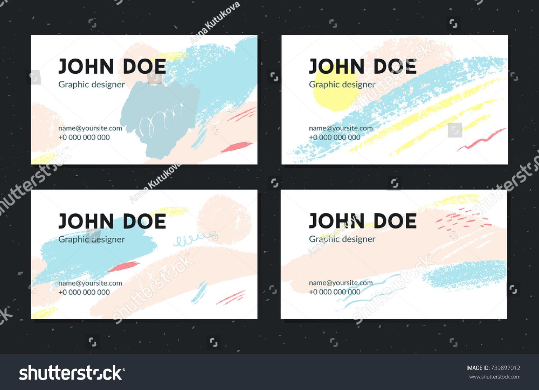Artistic Business Card Template Creative Brush Stock Vector ...