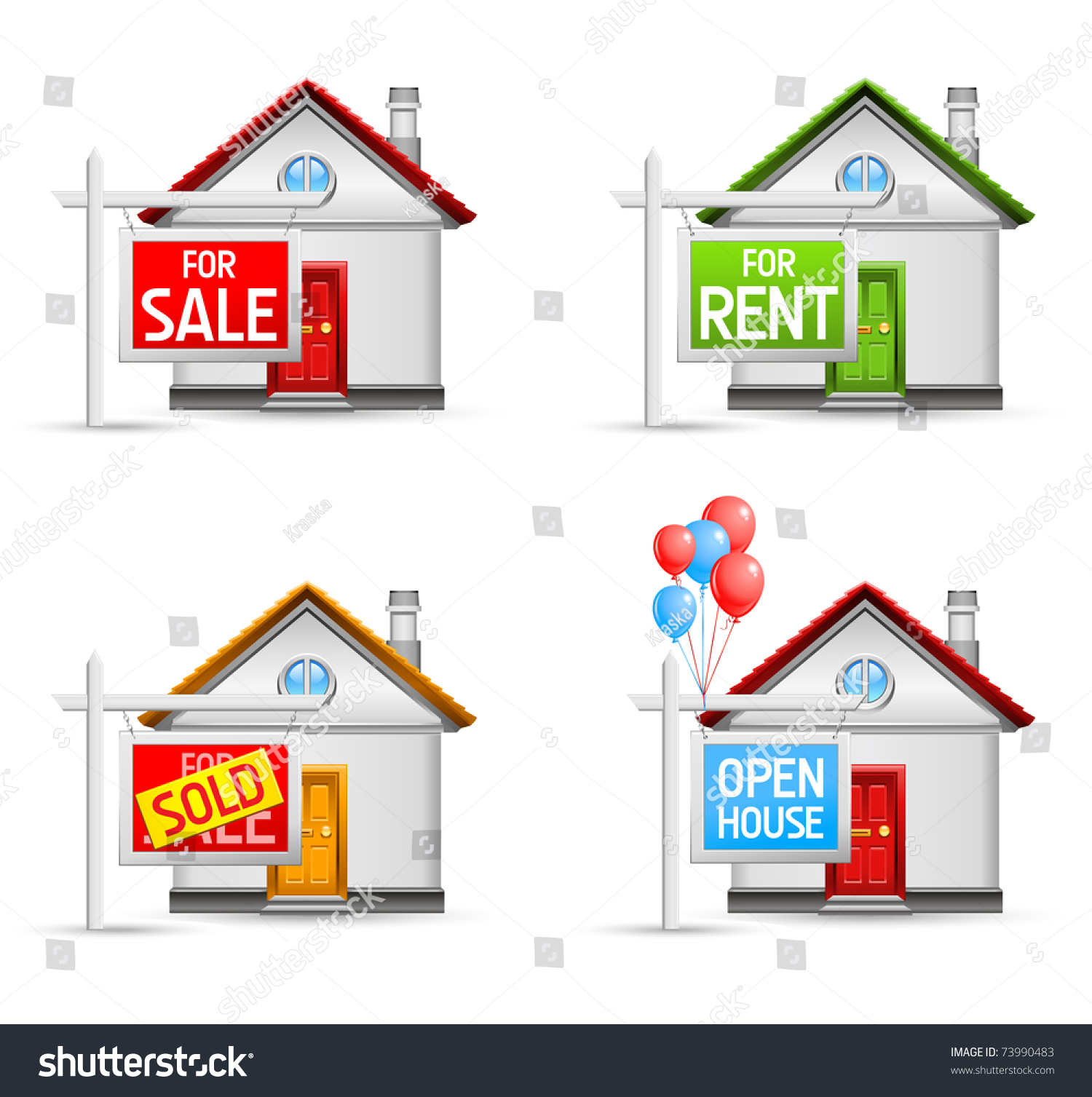 Z Homes For Sale Stock Vector Real Estate Icons Set House For