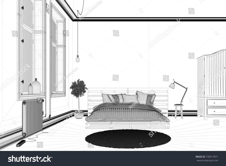 CAD Bedroom Draft For Planning Interior Design With Room Planner (3D  Rendering)