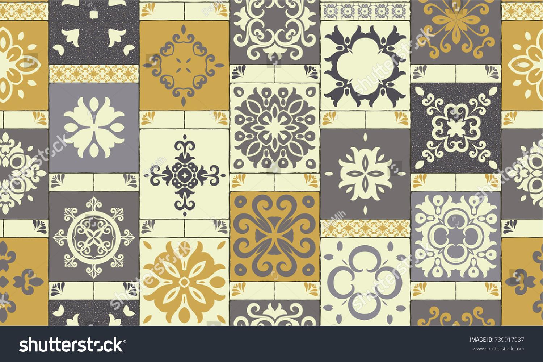 Seamless ceramic tile colorful brownyellowbeige patchwork stock seamless ceramic tile with colorful brown yellow beige patchwork design vintage multicolor pattern doublecrazyfo Choice Image