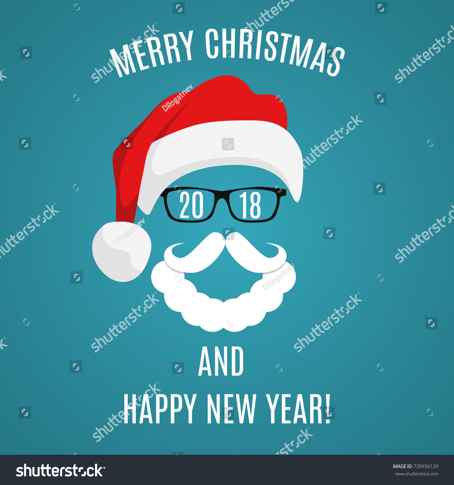 Merry Christmas Greeting Card Template Santa Stock Vector (Royalty ...