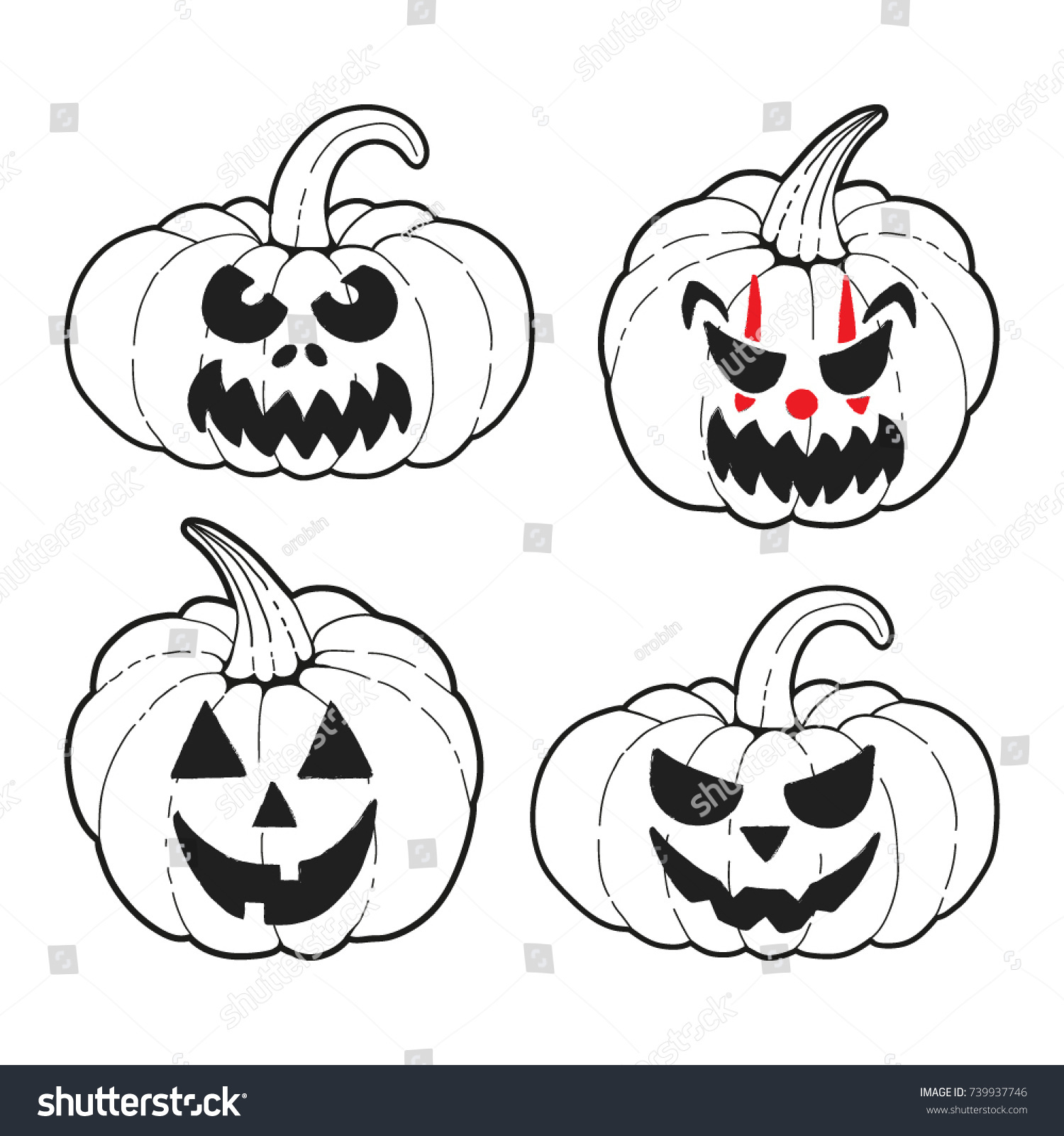 Vector Set 4 Halloween Pumpkins Cute Stock Vector 739937746 ...