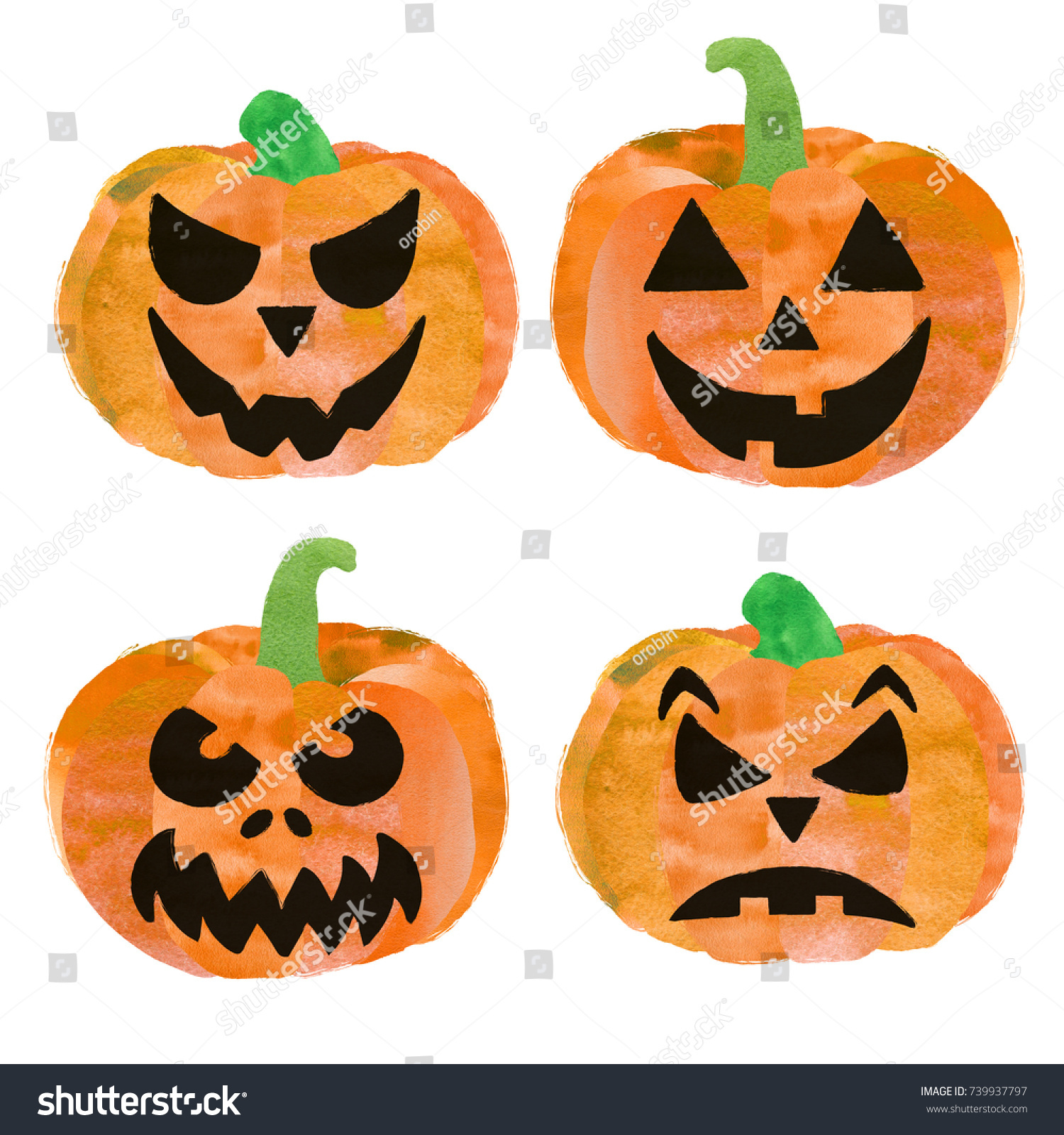 Set 4 Halloween Pumpkins Cute Scary Stock Illustration 739937797 ...