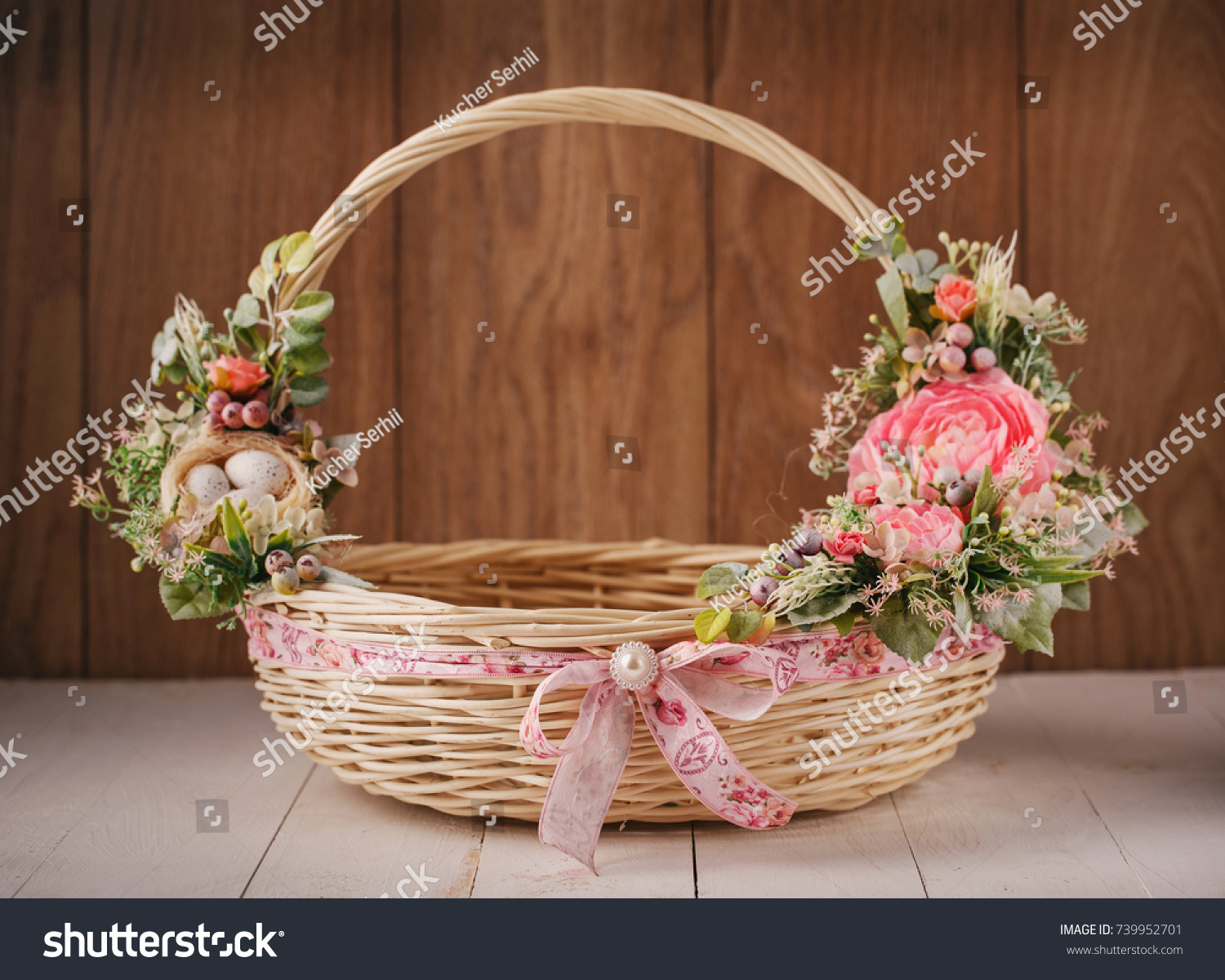 Beautiful Decorative Basket Flowers Celebrate Easter Stock Photo