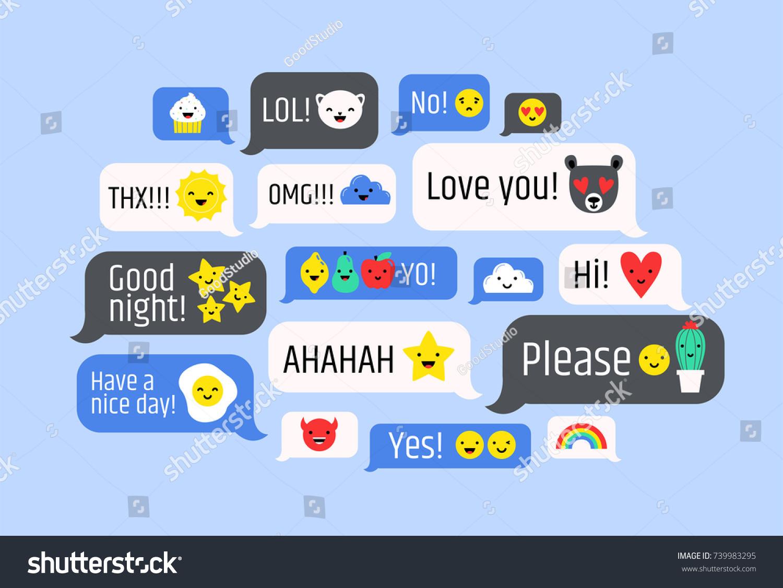 Cloud Messages Cute Emoji Speech Bubbles Stock Vector Royalty Free