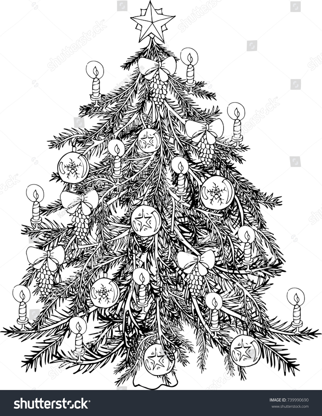 Coloring Pages Christmas Tree Decorated Stock Vector Royalty Free 739990690