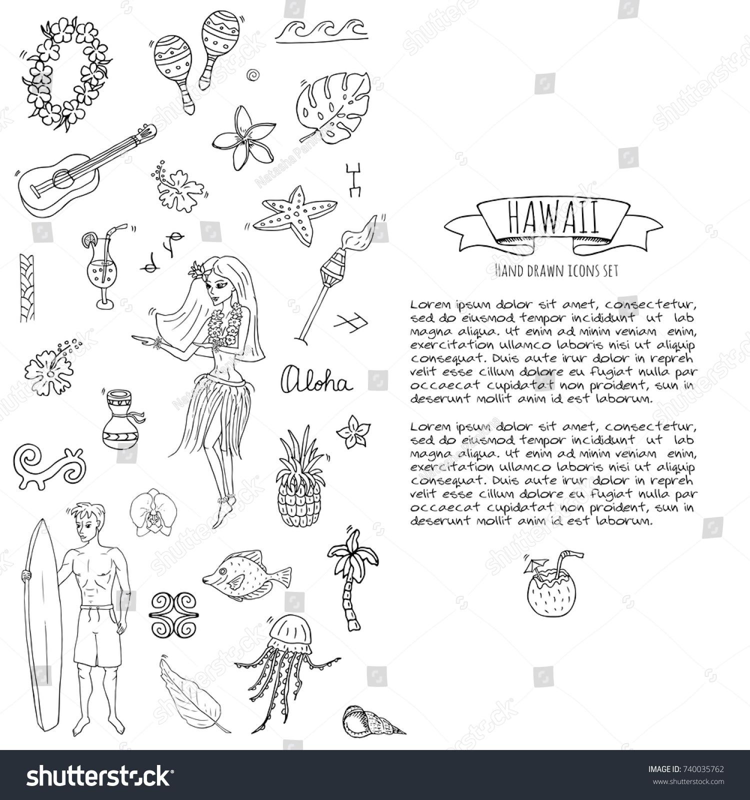 Hand Drawn Doodle Hawaii Icons Set Stock Vector Royalty Free