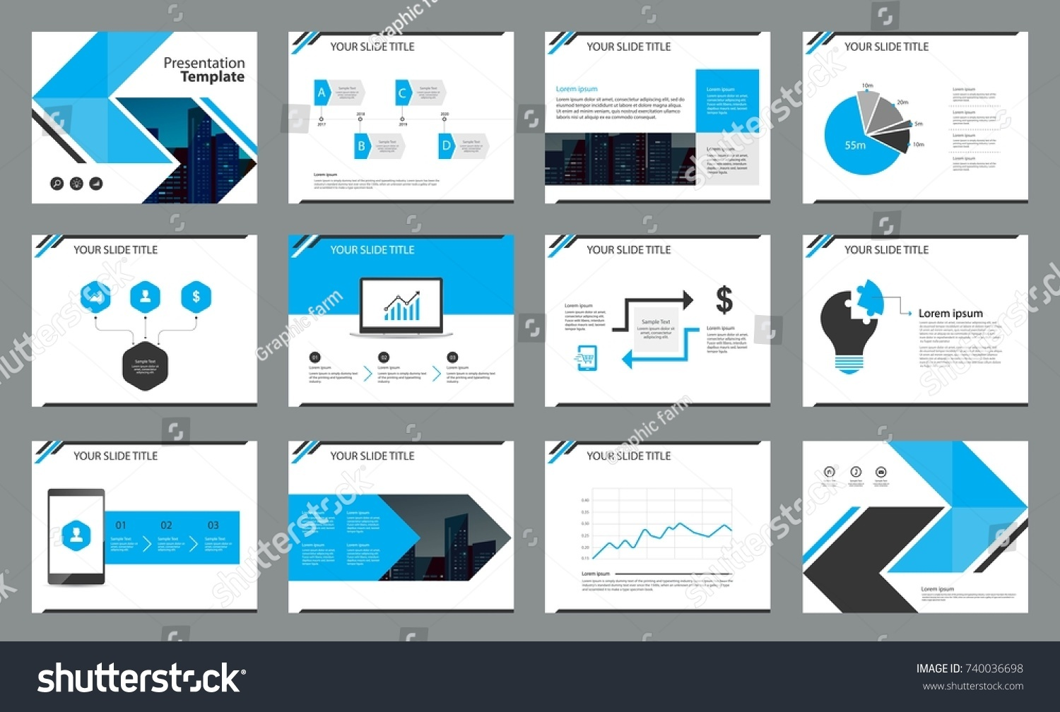 page design business presentation template report stock vector, Presentation templates