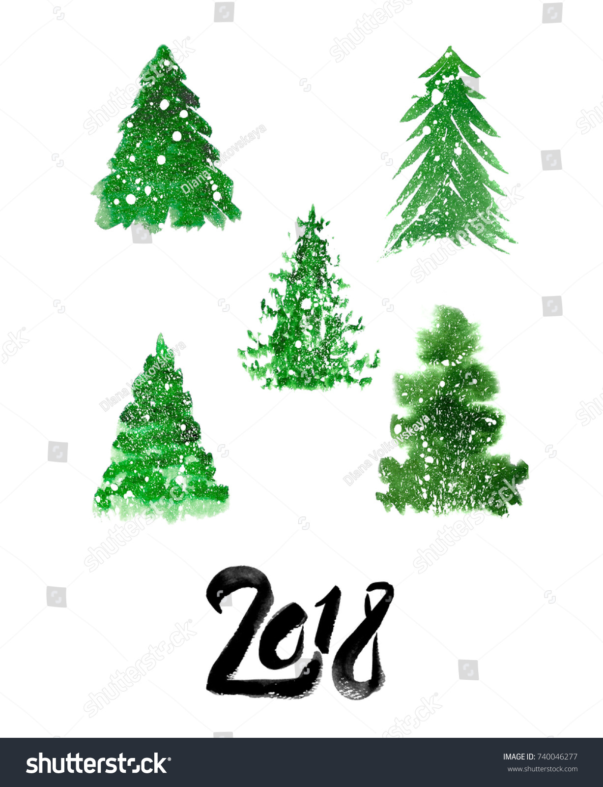 Christmas Trees Snow New Year 2018 Stock Illustration 740046277 ...