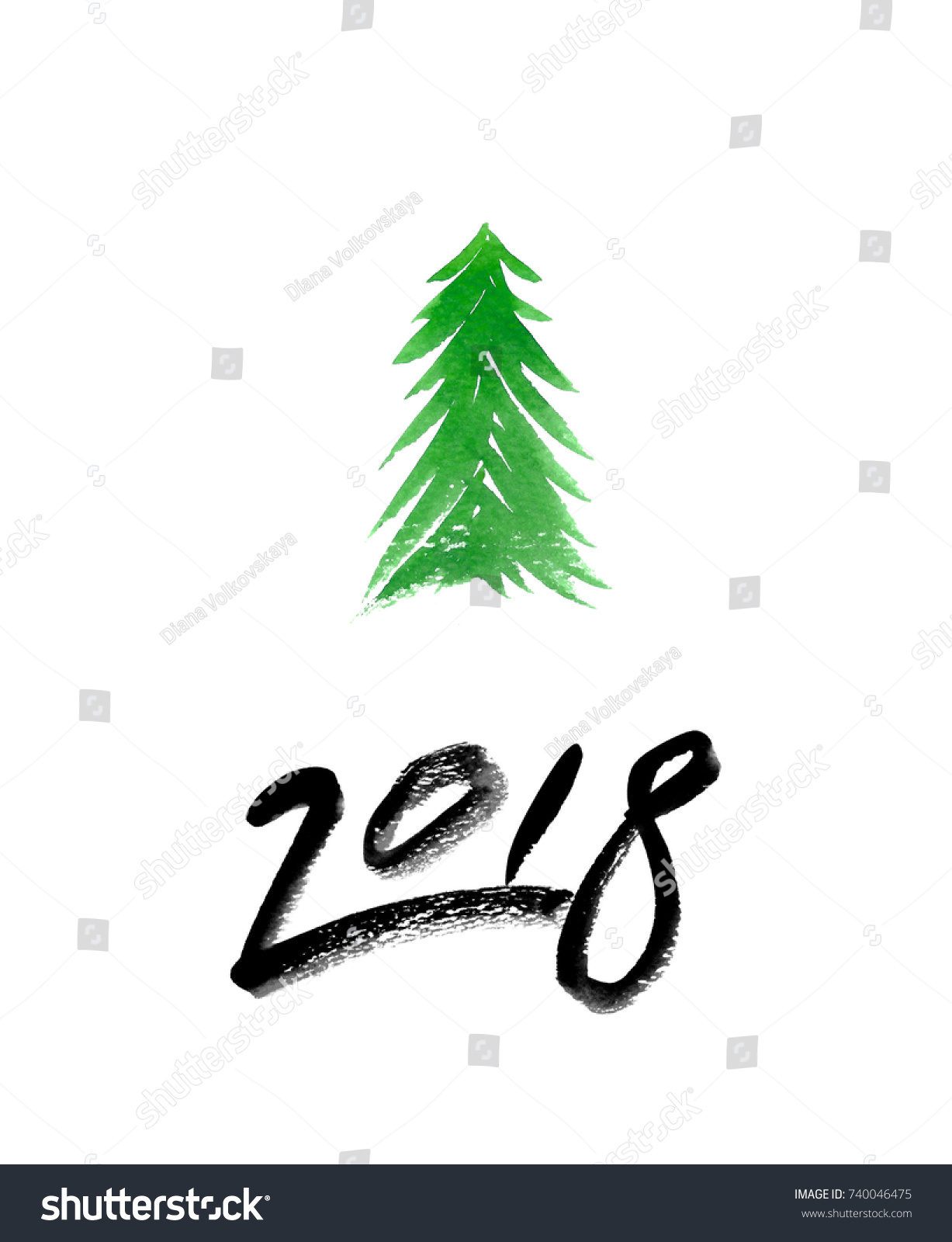 One Abstract Christmas Tree Snow New Stock Illustration 740046475 ...