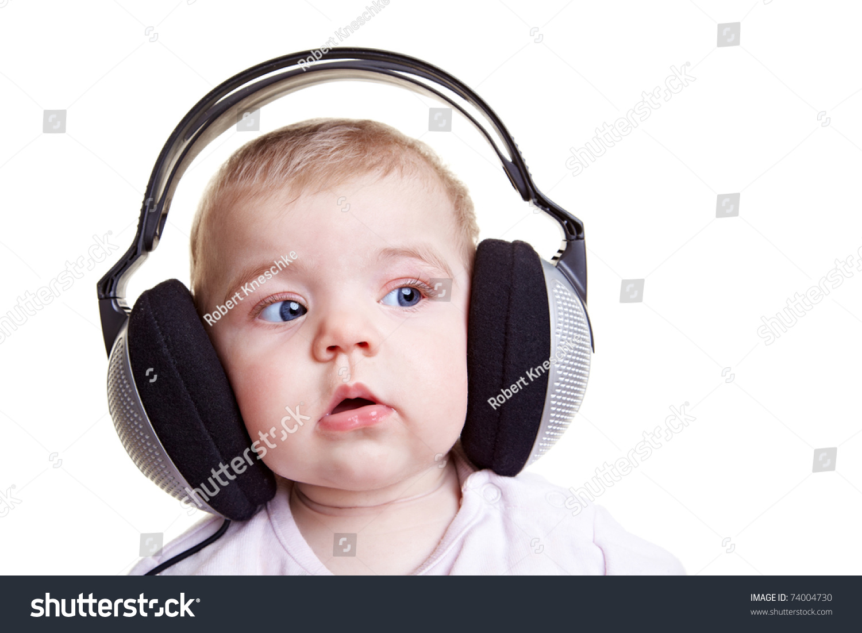 Little Baby Listening Music Big Headphones Stock Photo ...