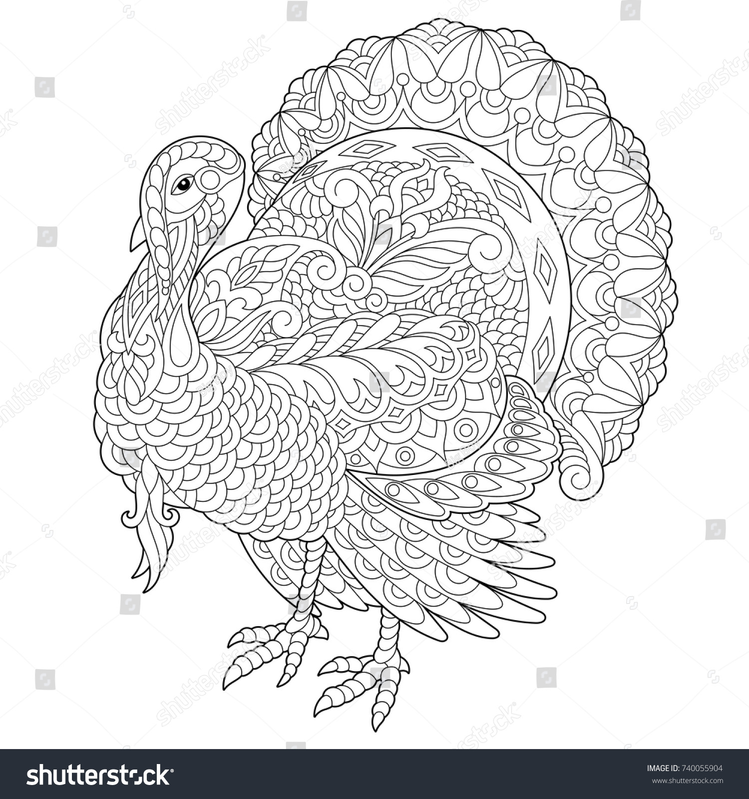 Coloring Page Turkey Thanksgiving Day Greeting Stock-vektorgrafik ...
