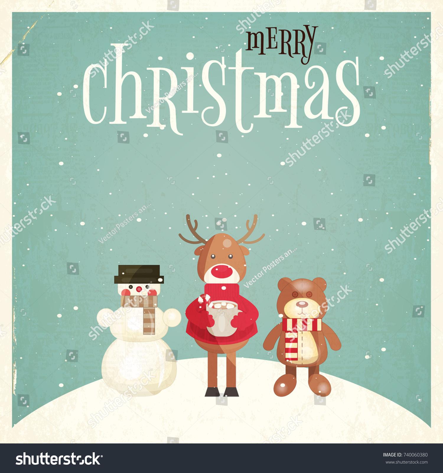 Merry christmas greeting card xmas characters stock vector 740060380 merry christmas greeting card with xmas characters snowman deer bear vector illustration kristyandbryce Gallery