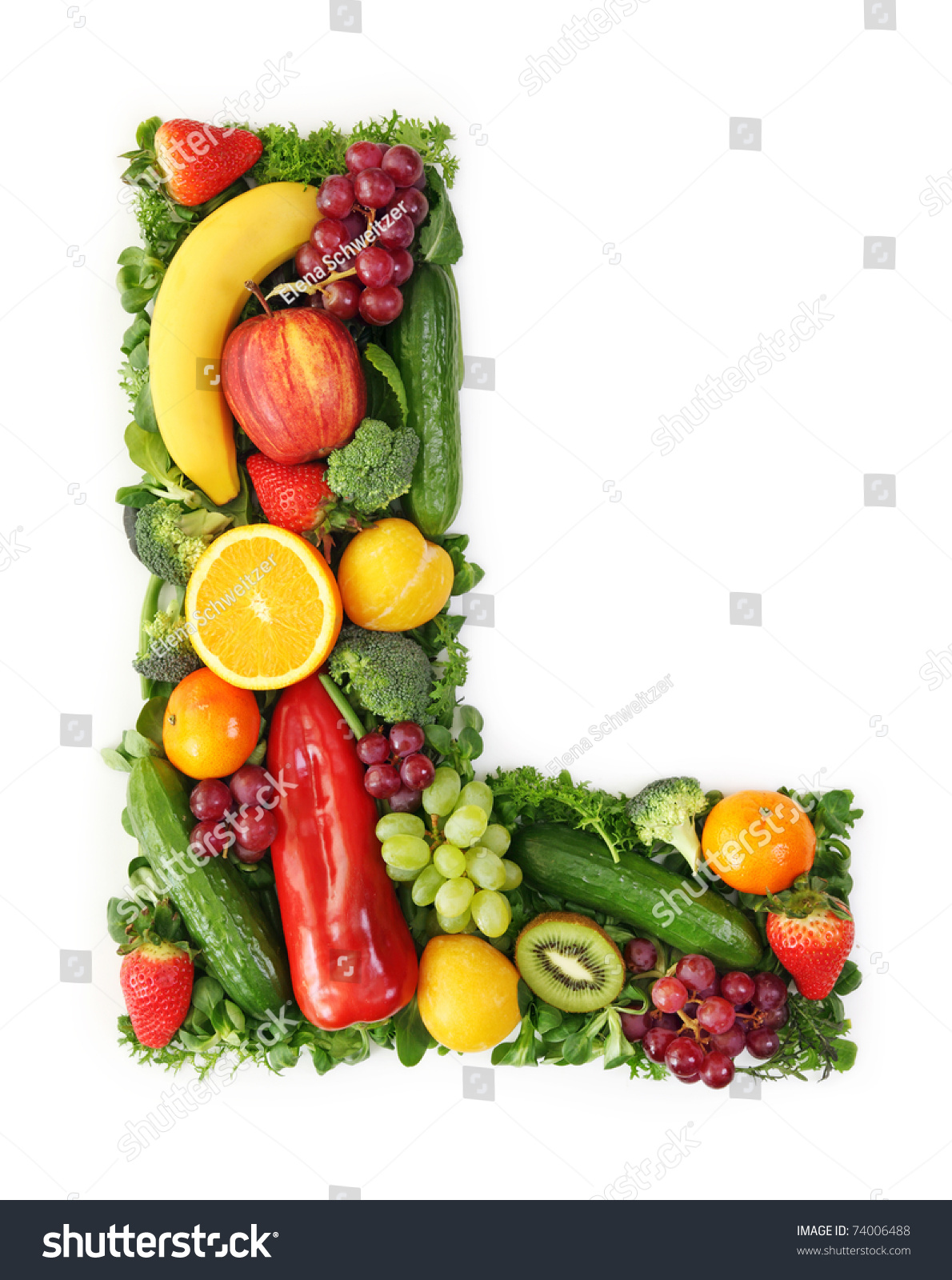 Fruit Vegetable Alphabet Letter L Stock Photo 74006488 ...