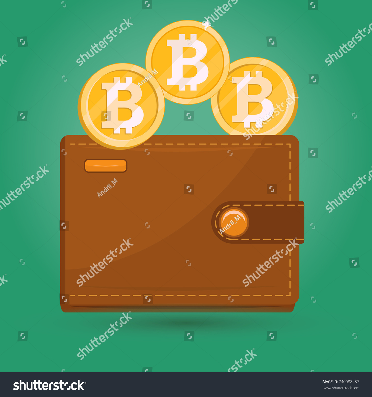 Bitcoin Wallet Gold Physical Bit Coin Digital Crypto Currency Blockchain Sign Icon Internet