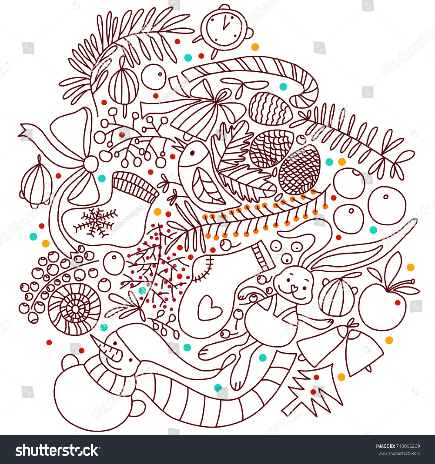 Christmas Coloring Book Color Snowflakes Stock Illustration 740096269