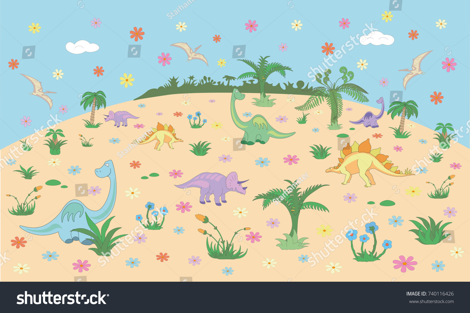 Beautiful Childrens Room Wall Design Kids Stock Vector (Royalty Free ...