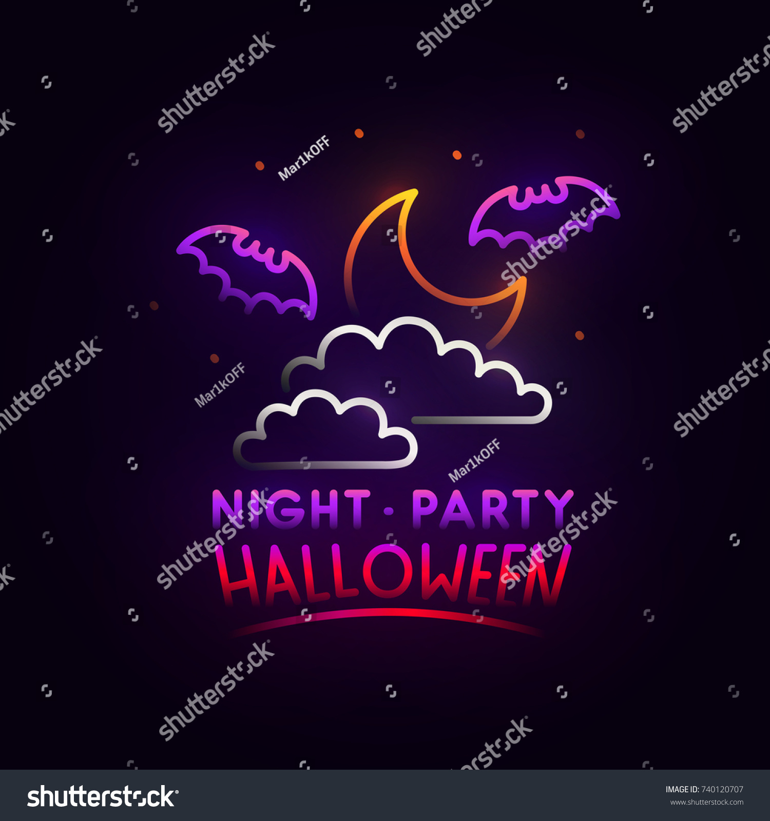 Night Sky Abstract Logo. Night Party. Happy Halloween. Logo, Label, Emblem