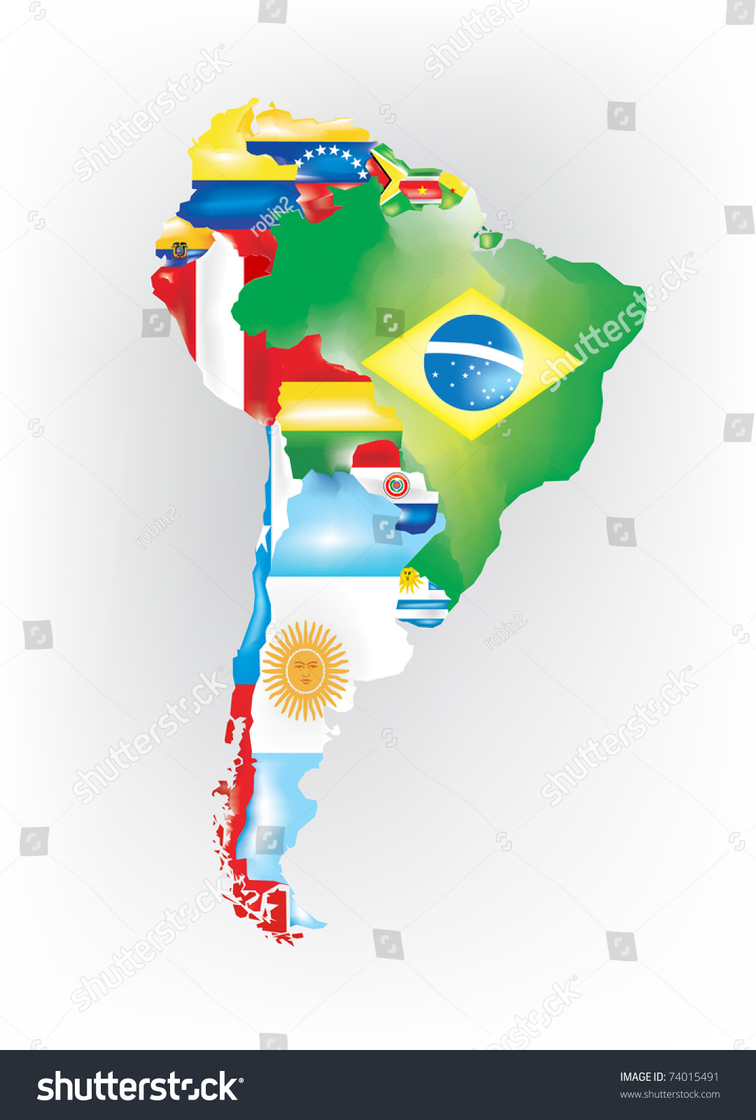 Abstract Map South America Colored By Stock Vector - South america map and flags