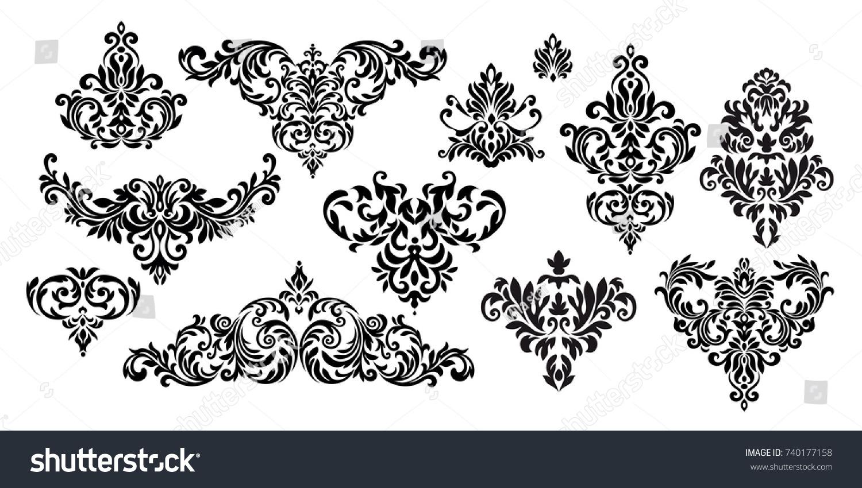 Set Oriental Vector Damask Patterns Greeting Stock Vector (2018 ...