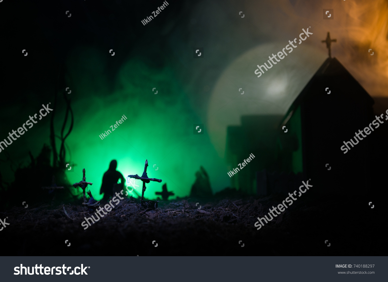 Scary View Zombies Cemetery Dead Tree Stock Photo (Edit Now