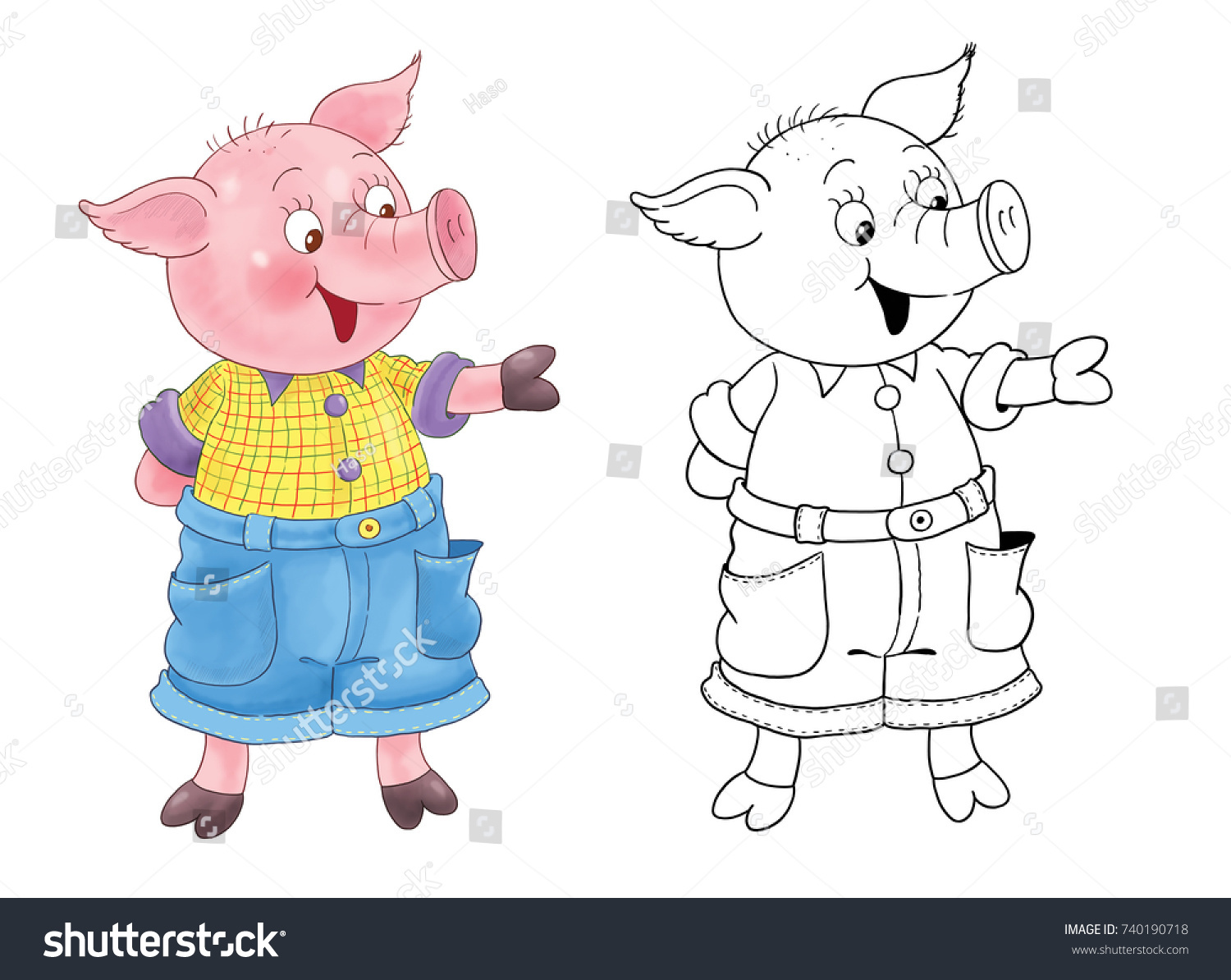 Three little pigs fairy tale coloring book coloring page illustration for children cute and funny cartoon characters character design illustration