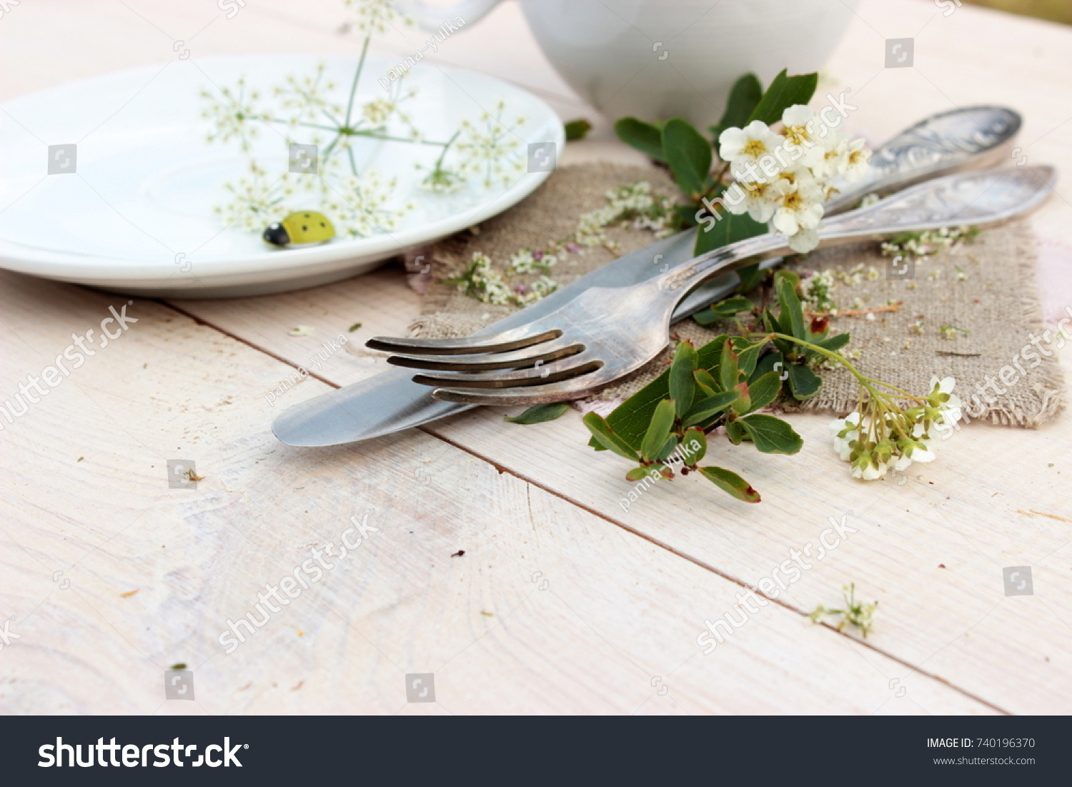 Concept Dinner Ware Set Decor Silver Stock Photo (Royalty Free ...