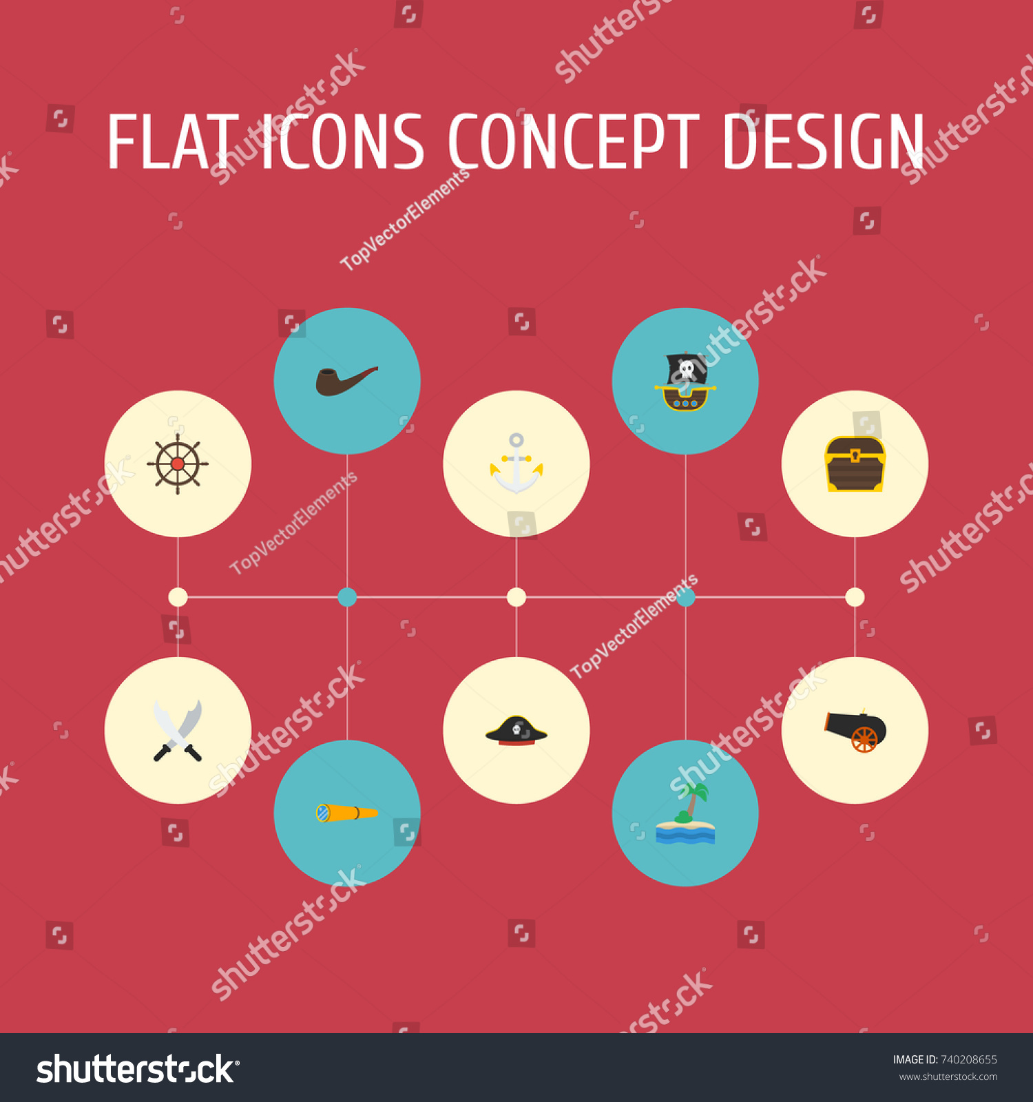 c34a3455 Flat Icons Telescope Armature Pirate Hat Stock Vector (Royalty Free ...