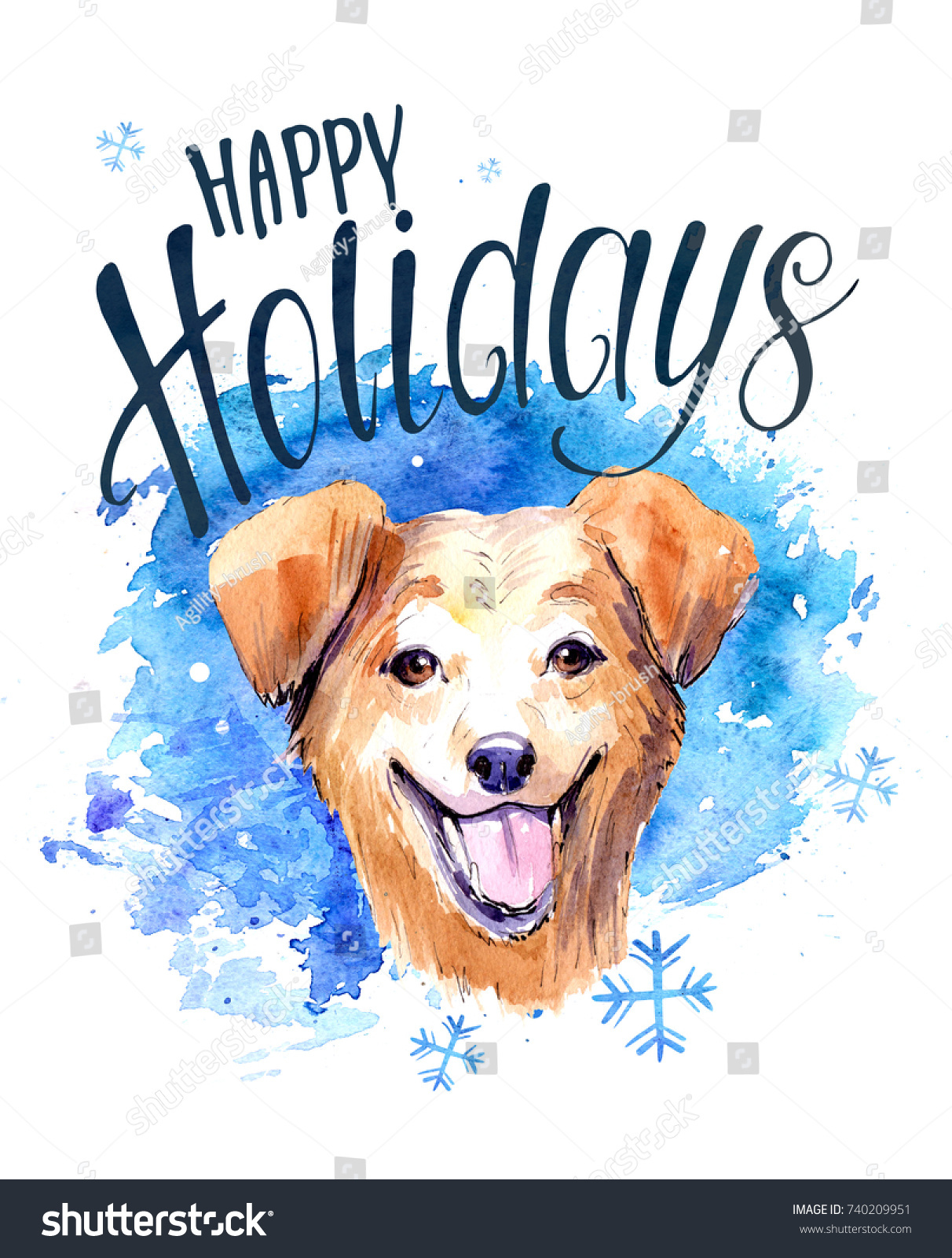 Christmas Card Dog Watercolor Hnd Drawn Stock Illustration 740209951 ...
