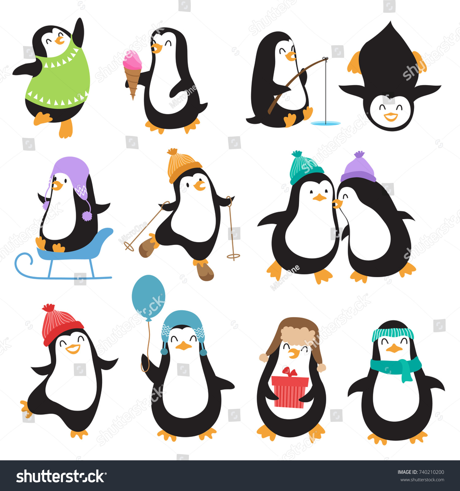 funny christmas penguins vector characters set stock vector