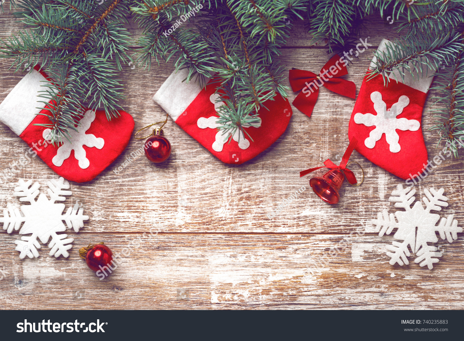 Christmas Decorations On Old Boards Christmas Stock Photo (Edit Now ...