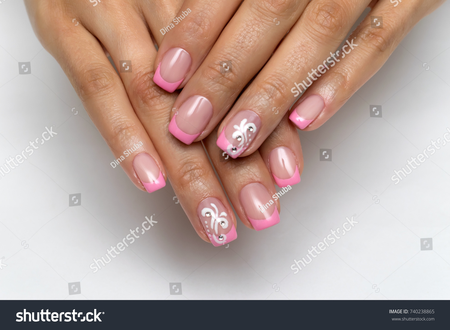 French Pink Manicure Crystals Monograms On Stock Photo (Royalty Free ...