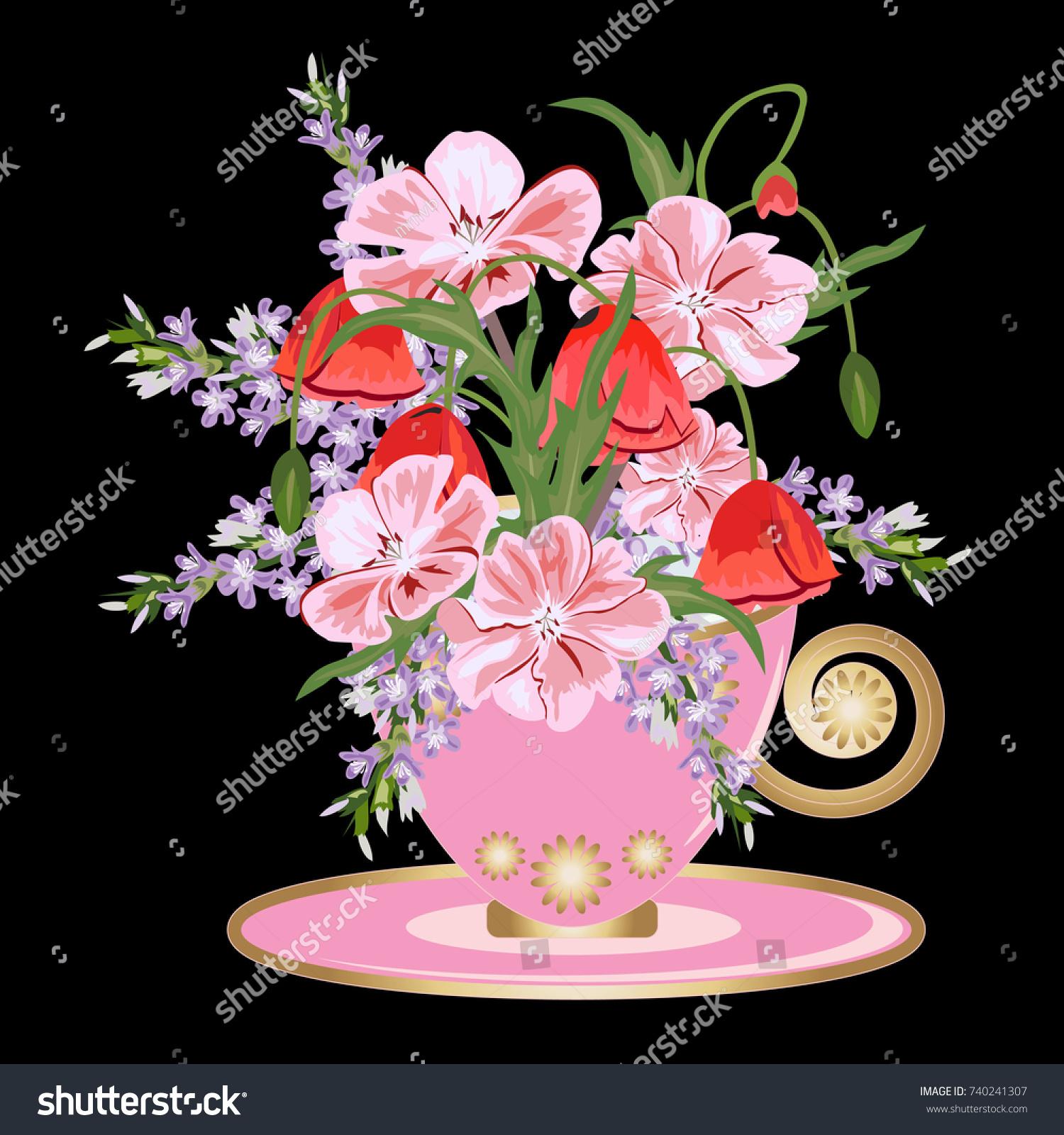 Beautiful Bouquet Meadow Flowers Vintage Pink Stock Illustration ...