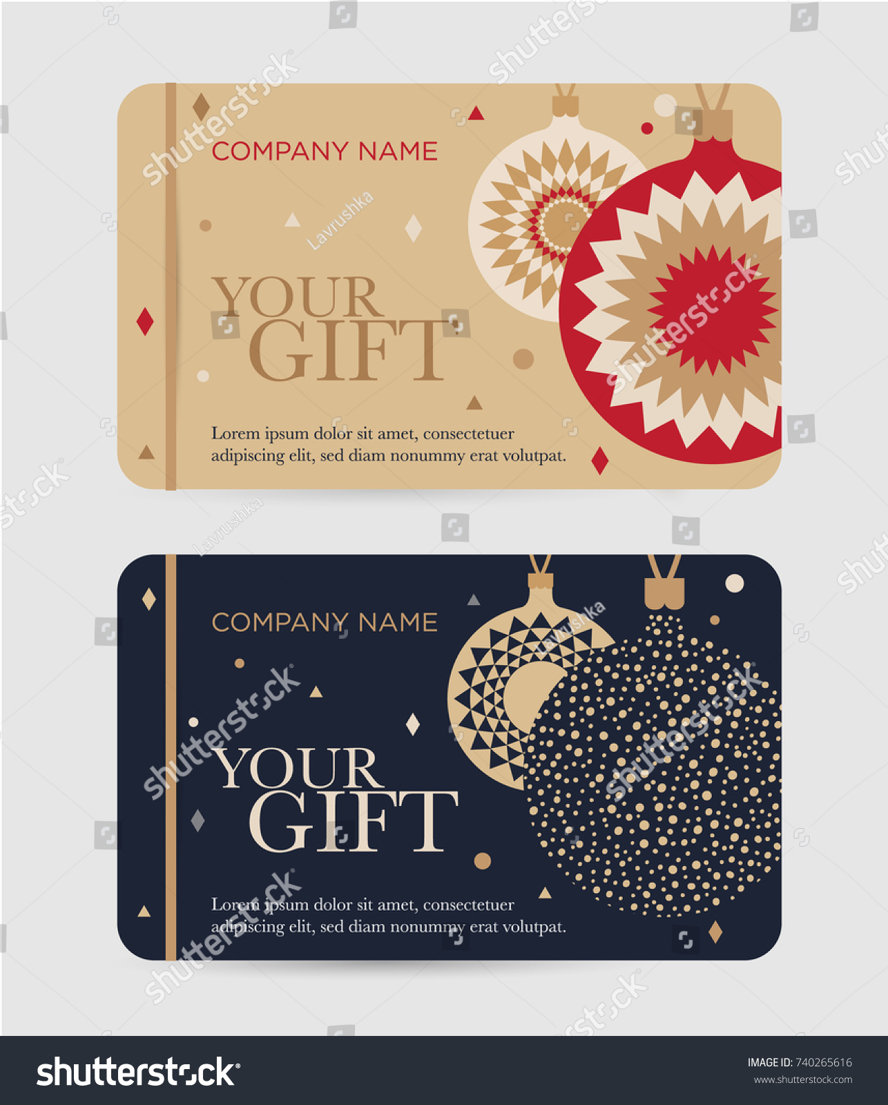 Christmas Gift Certificate Christmas Balls New Stock Vector Royalty Free 740265616