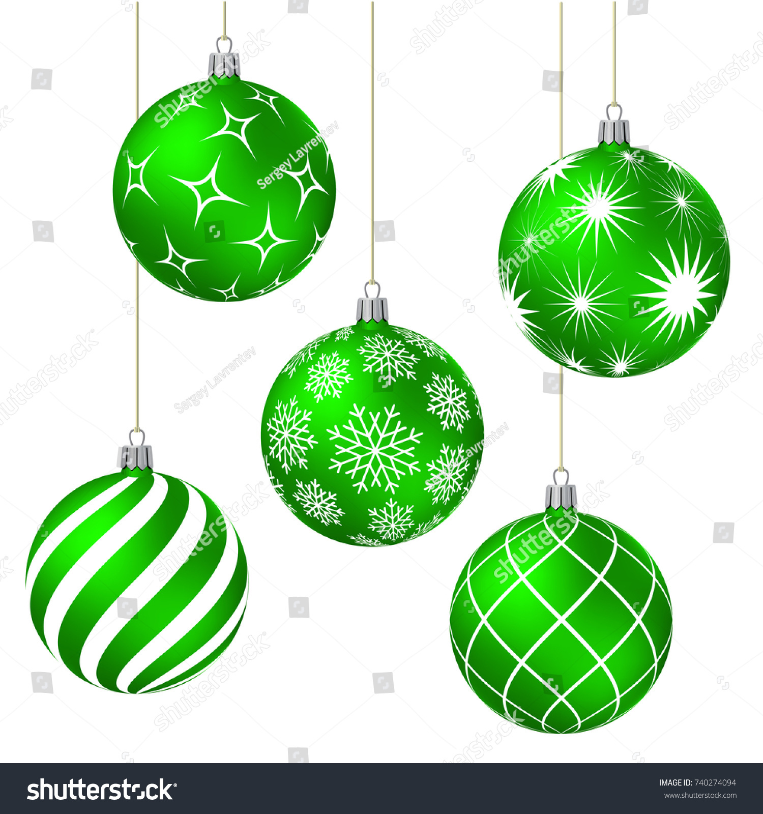 Green Christmas Balls With Different Patterns On White Vector Illustration