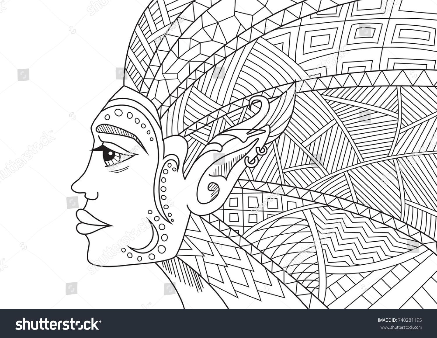 Outlined Doodle Antistress Coloring Fairy Elf Stock Vector 740281195 ...