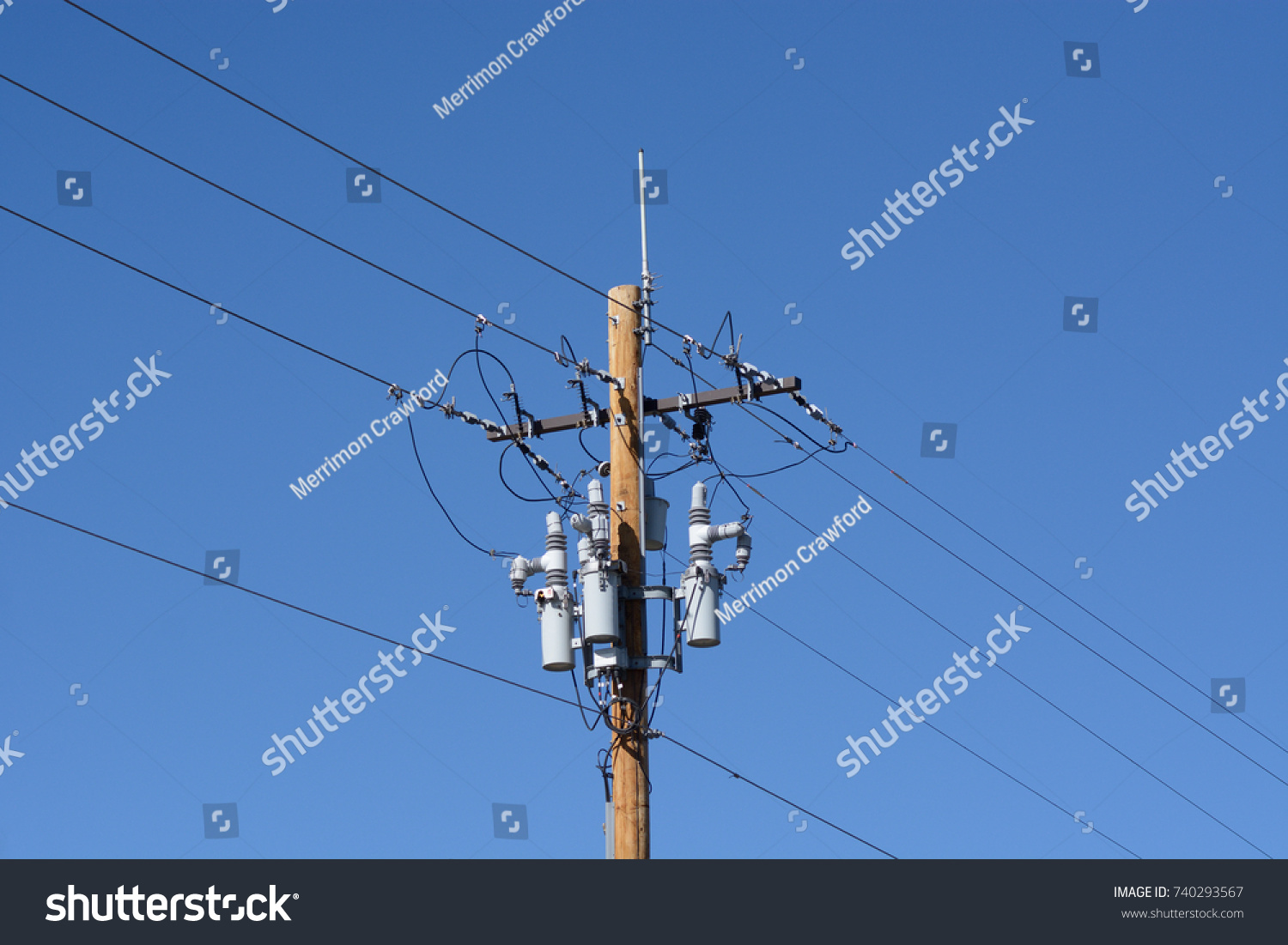 Electric Power Lines Circuit Breakers Stock Photo Edit Now Line Breaker With And Antenna On New Wooden Pole