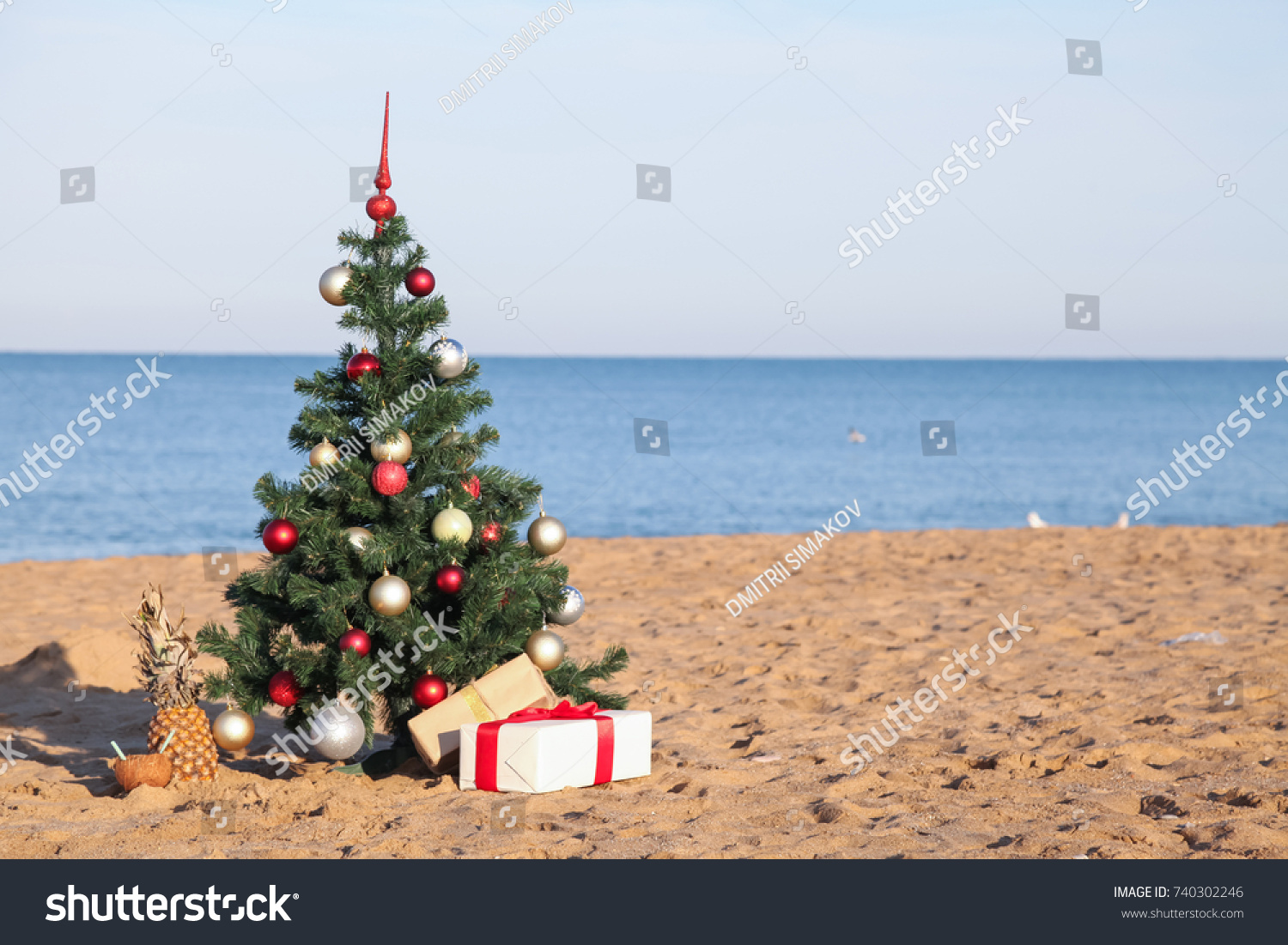 christmas on the beach with gifts new year - Christmas On The Beach