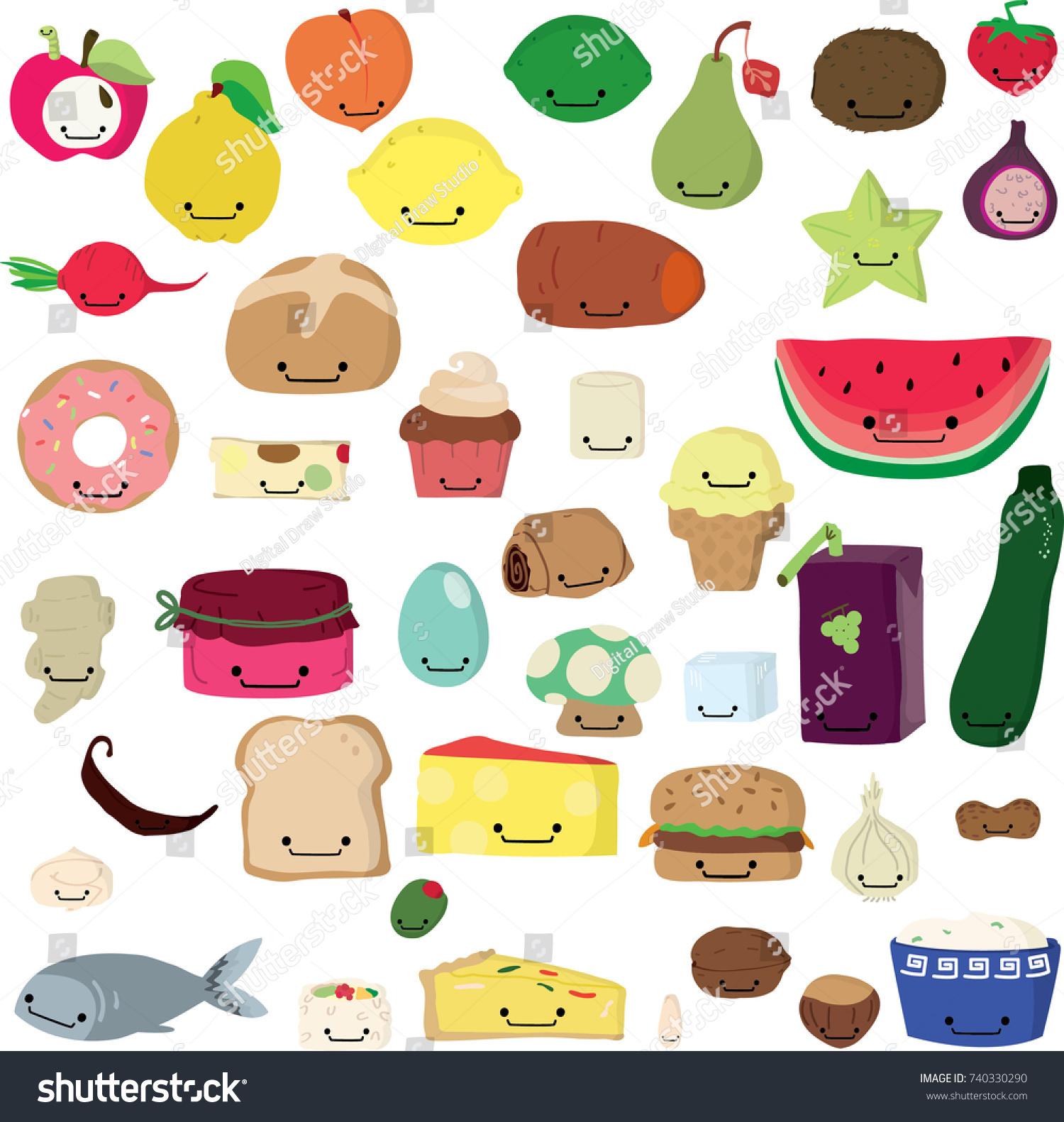 Image Vectorielle De Stock De Cute Freehand Fruit Vegetable Kawaii Colored 740330290