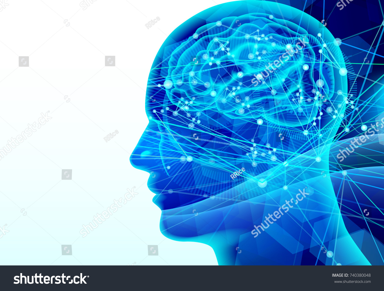 Blue brain human background stock vector 2018 740380048 shutterstock blue brain human background ccuart Image collections